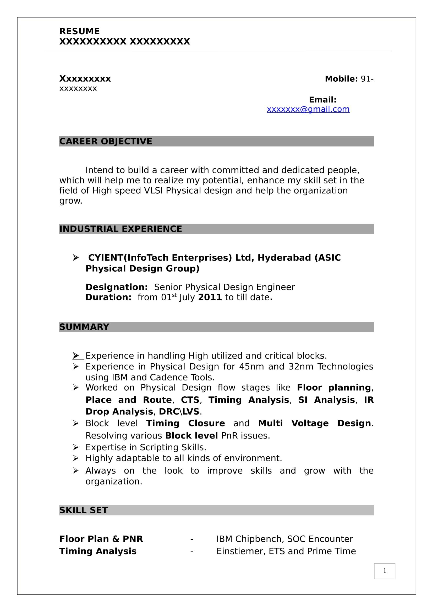 Pd Sample Resume Vlsi